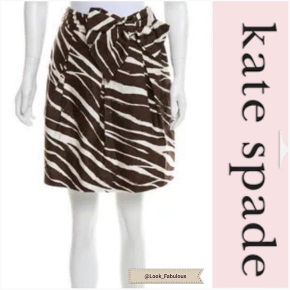 kate spade Dresses & Skirts - NWOT KATE SPADE BROWN ANIMAL PRINT WITH BOW SKIRT